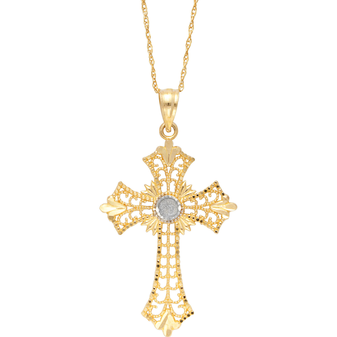 10k two tone filigree celtic cross pendant gold necklaces 10k two tone filigree celtic cross pendant aloadofball Image collections