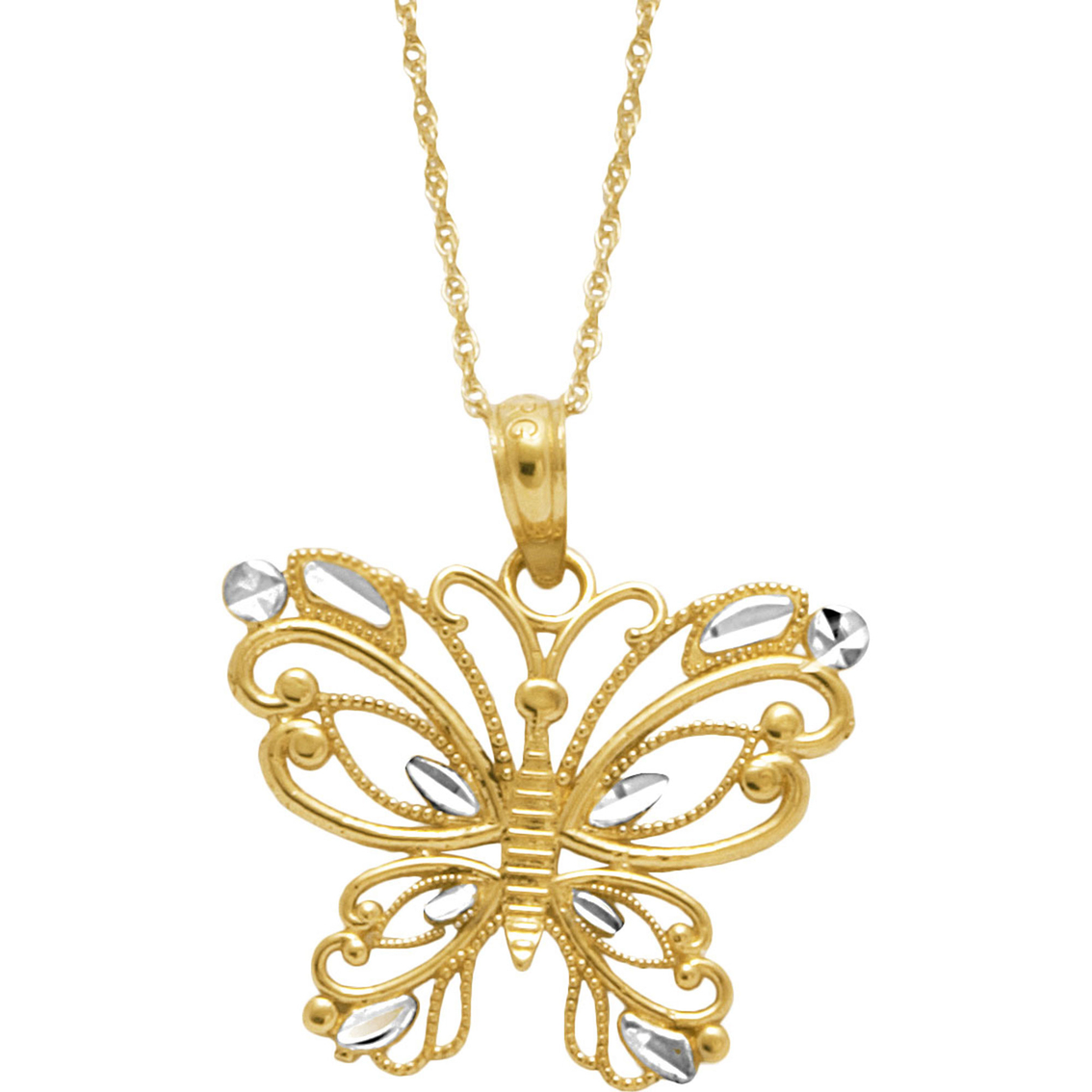10k Two Tone Diamond Cut Butterfly Pendant Gold Necklaces