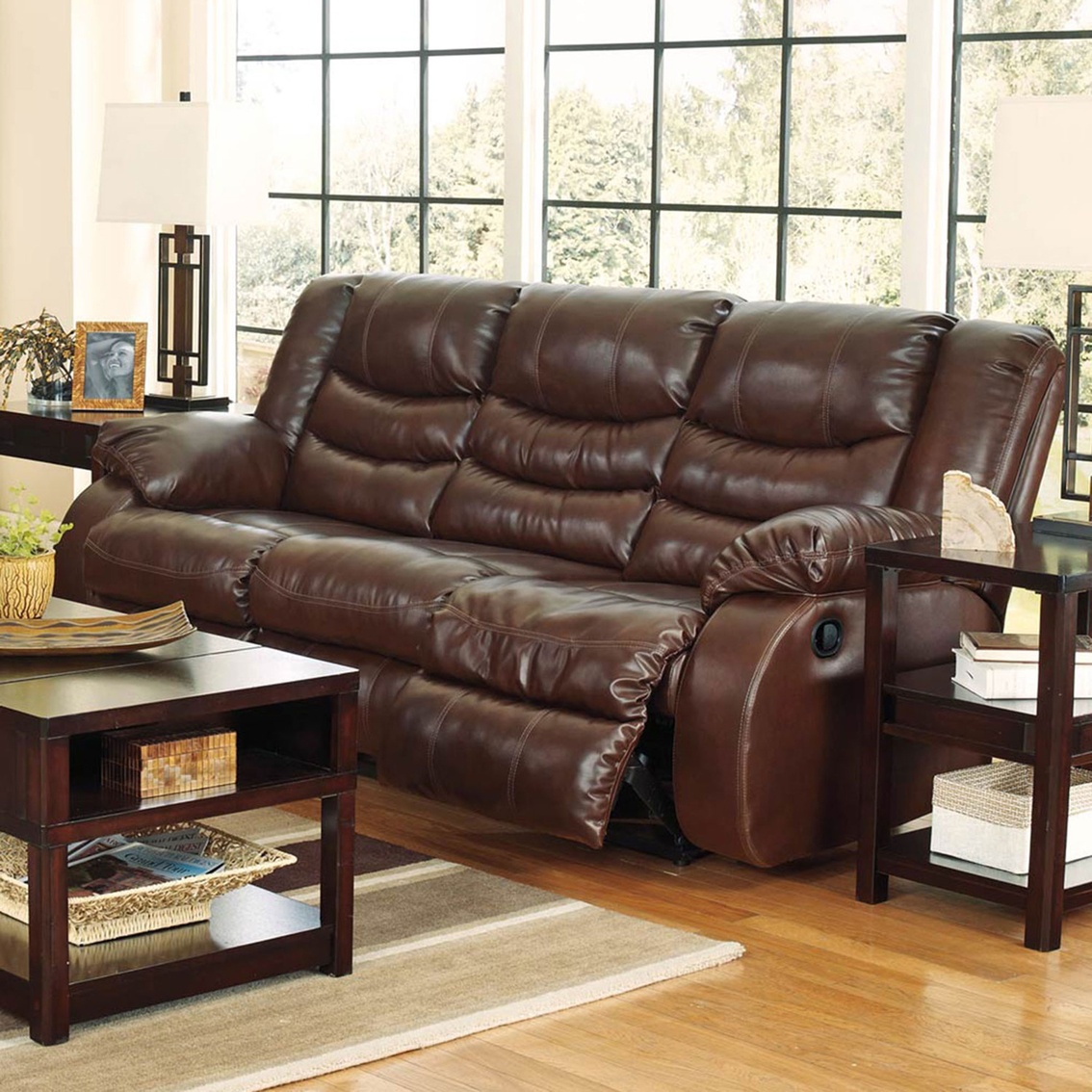 Ashley linebacker reclining sofa sofas couches home for Hometown furniture exchange