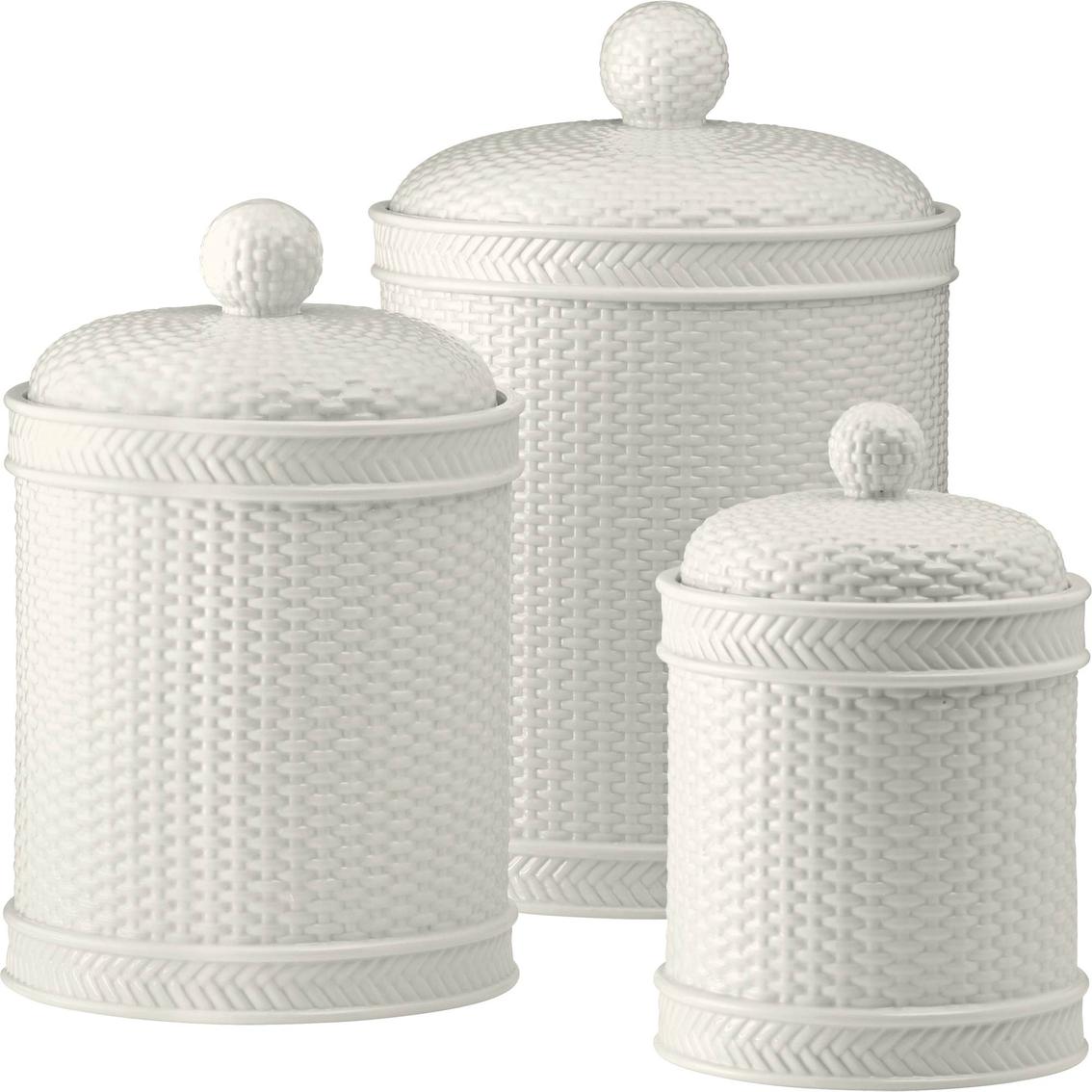 stewart kitchen canisters martha stewart collection whiteware basketweave 3 pc