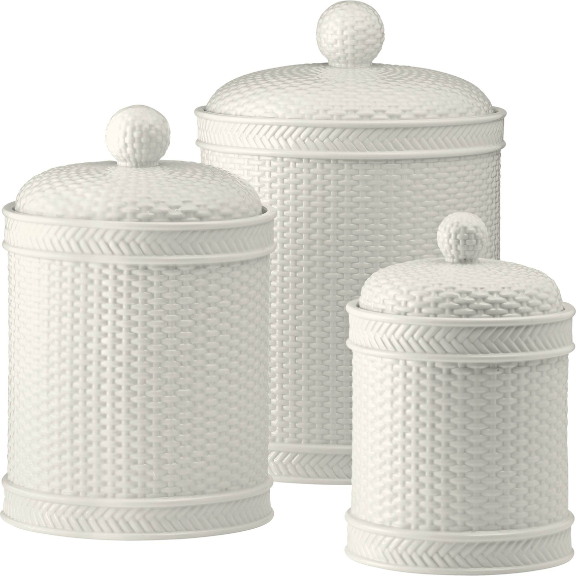 Martha Stewart Boot Tray Martha Stewart Collection Whiteware Basketweave 3 Pc Canister Set