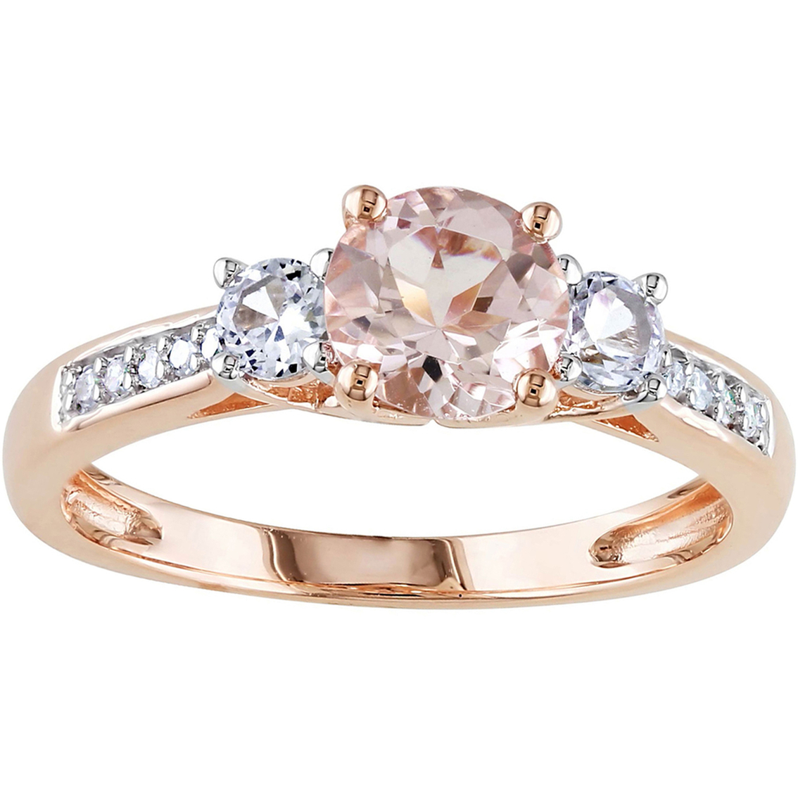 Sofia B 10k Rose Gold Morganite Ring With Diamond Accents