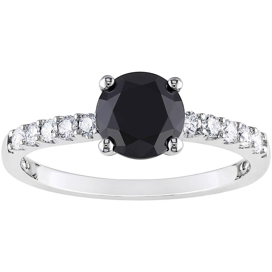 9mm Wedding Band 1 4 Ct Tw Black Diamonds Stainless Steel: Diamore 14k White Gold 1 1/4 Ctw Black And White Diamond
