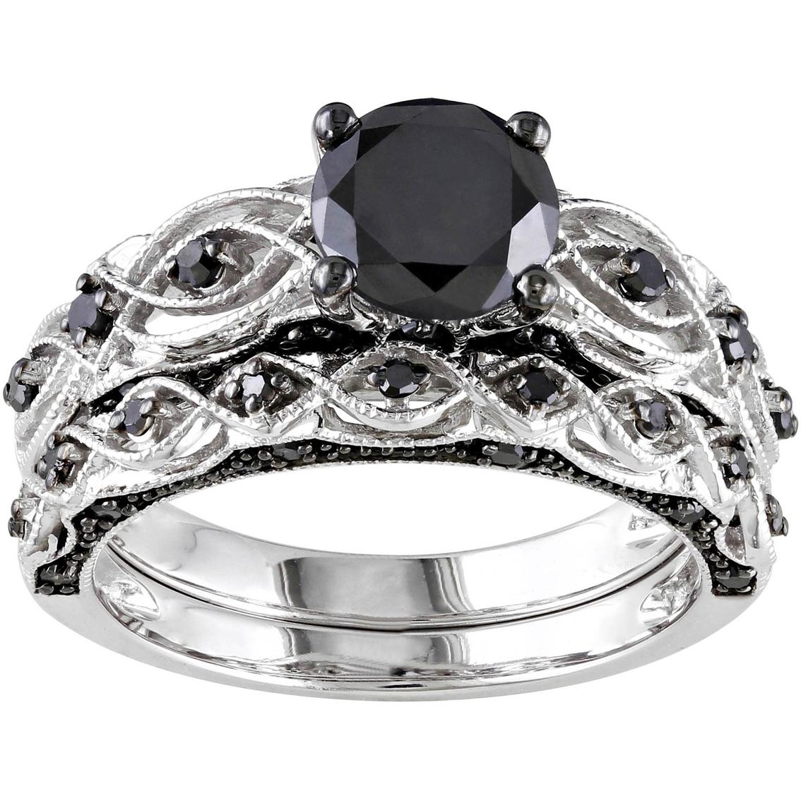 Diamore 10k White Gold 1 3 8 Ctw Black Diamond Vintage Bridal Set