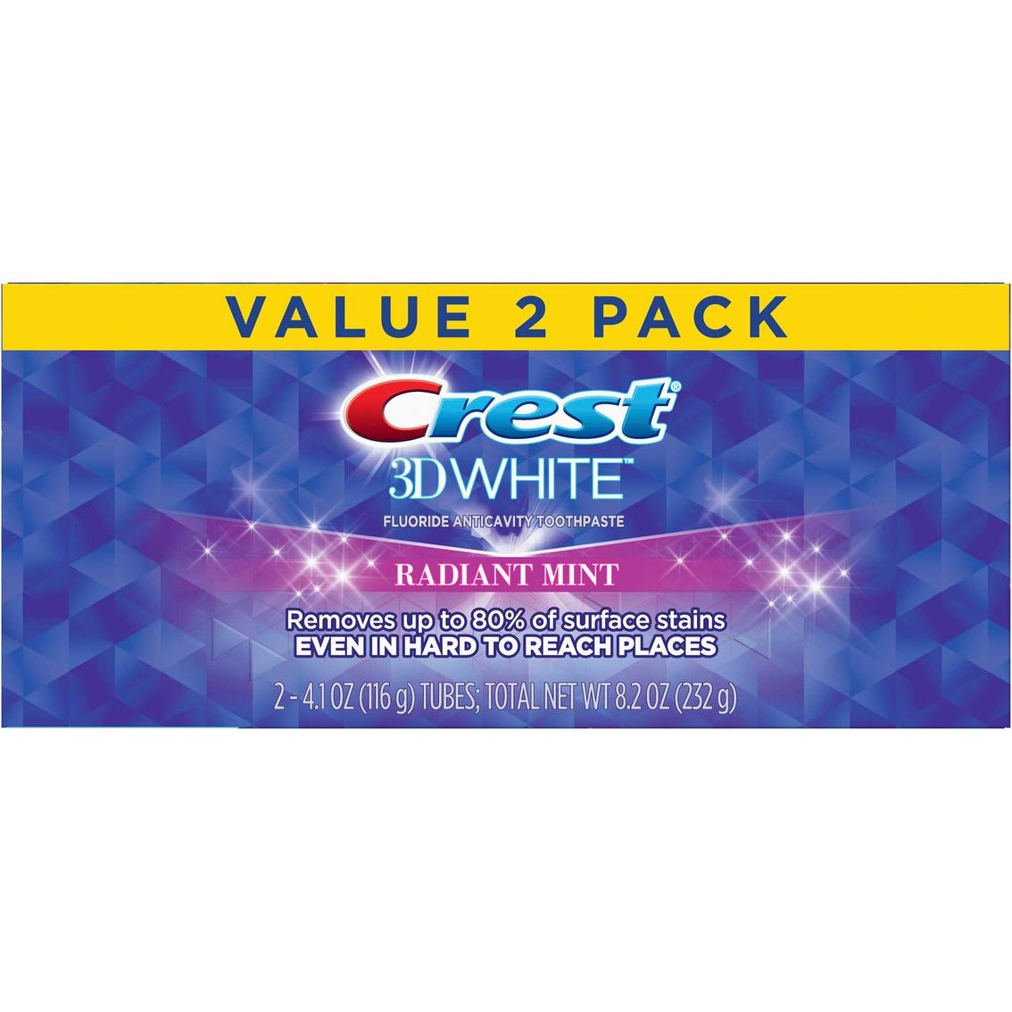 Crest 3d White Whitening Toothpaste Radiant Mint 4 1oz 2ct