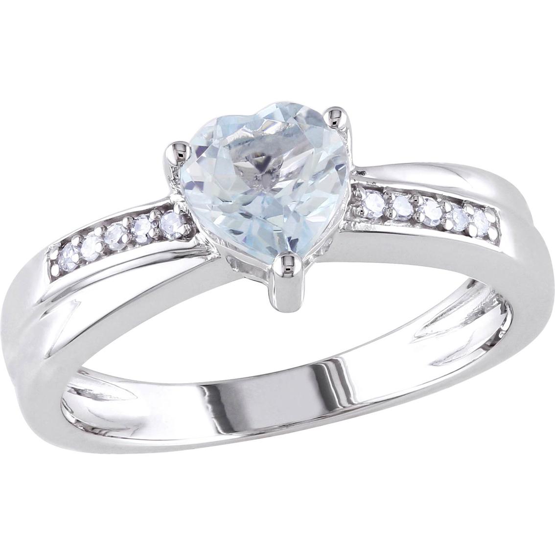 10k white gold aquamarine and diamond accent heart ring aquamarine