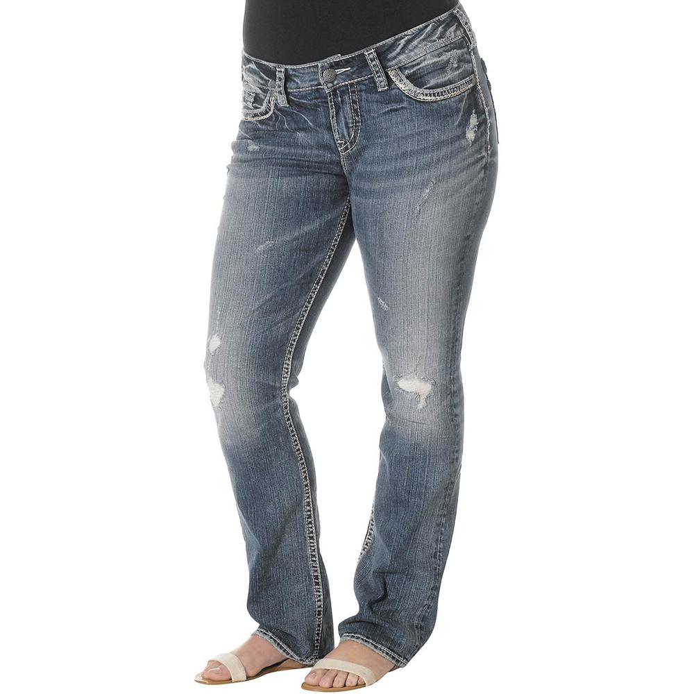 Silver Jeans Petite Plus Size Suki Mid Rise Baby Bootcut Jeans