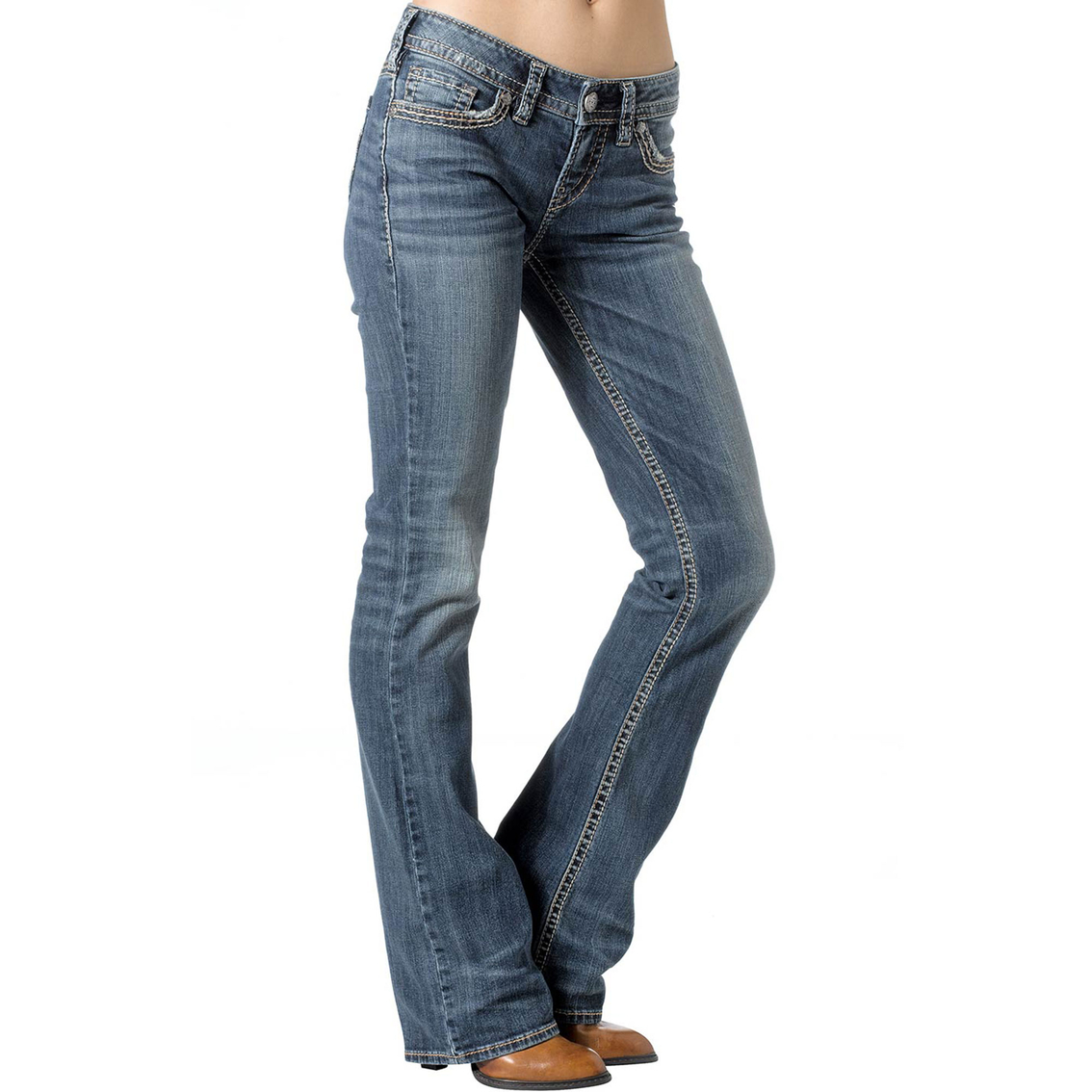 Silver Jeans Aiko Mid Rise Baby Bootcut Jeans, Regular | Jeans ...