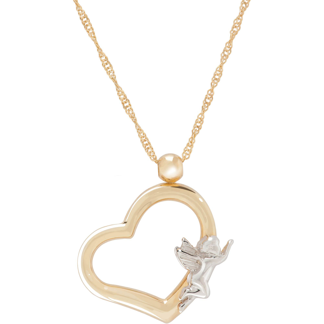 14k yellow gold heart with guardian angel necklace gold necklaces 1891 aloadofball Gallery