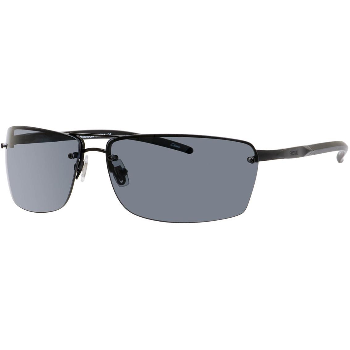 2f58c524ab Fossil Military Metal Rectangle Rimless Polarized Sunglasses 27 s ...