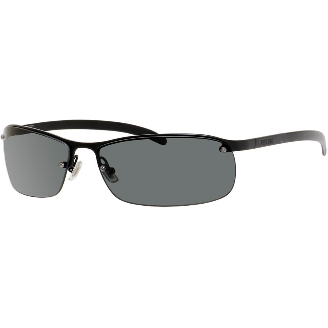 64da4a494e3d Fossil Military Metal Rectangle Rimless Polarized Sunglasses 48 s ...