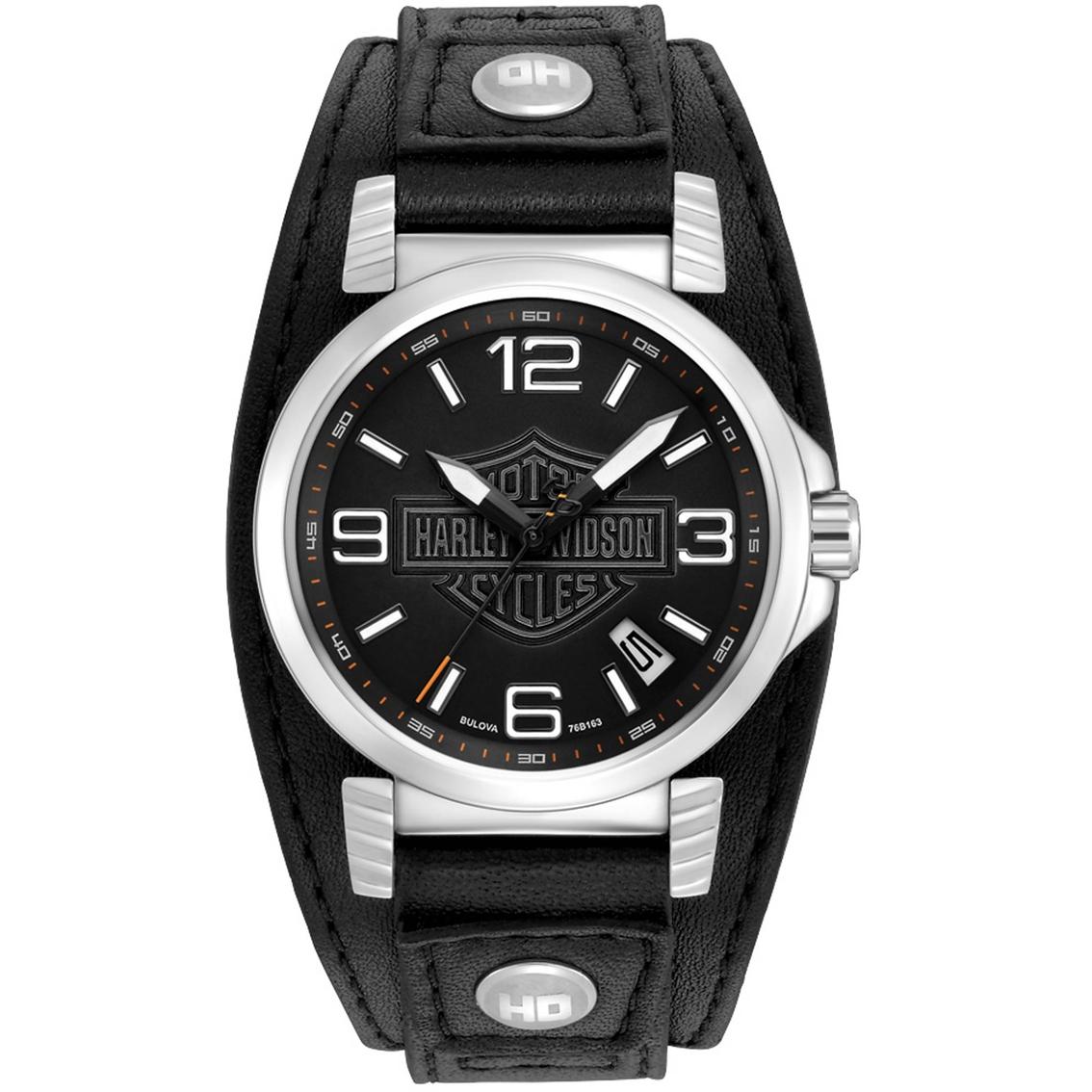 harley davidson by bulova men 39 s watch 76b163 leather
