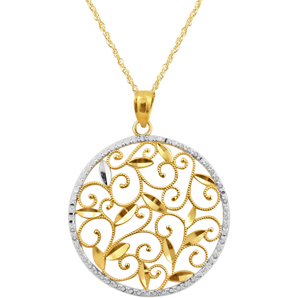 10k two tone diamond cut round pendant gold necklaces pendants 4095 audiocablefo