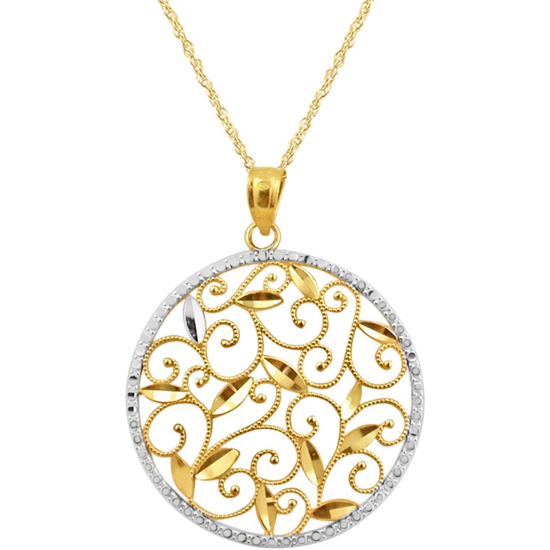 10k two tone cut pendant gold necklaces
