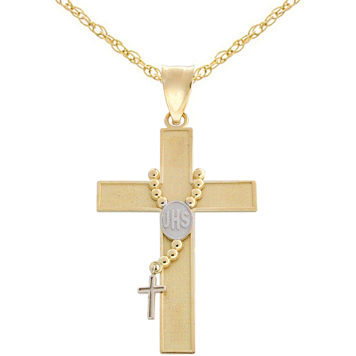 Latin treasures 14k two tone rosary cross pendant gold necklaces latin treasures 14k two tone rosary cross pendant aloadofball Image collections
