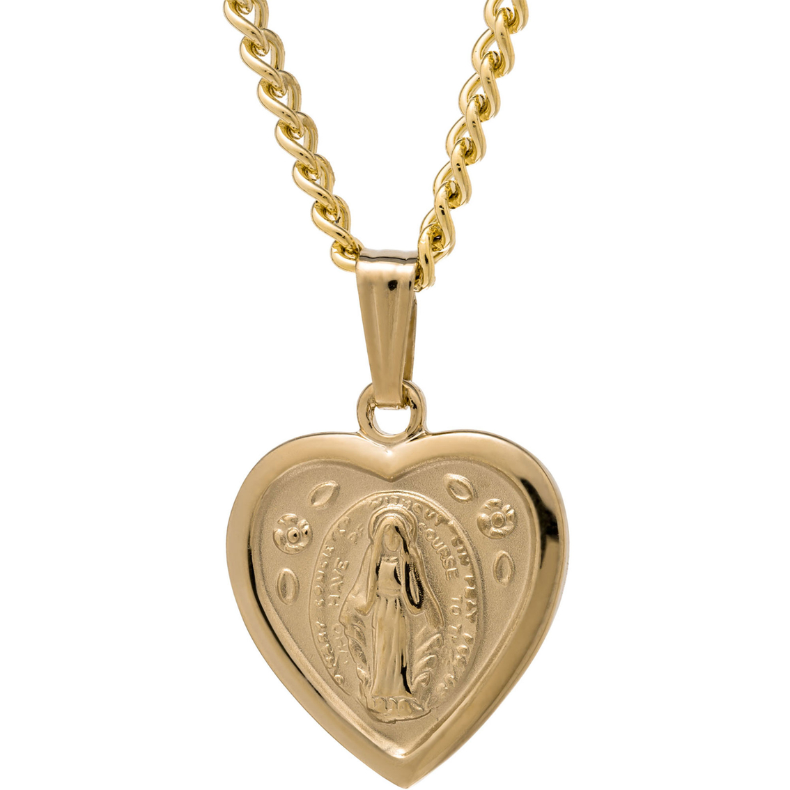 14k Yellow Gold Filled Solid Heart Shaped Miraculous Medal ...