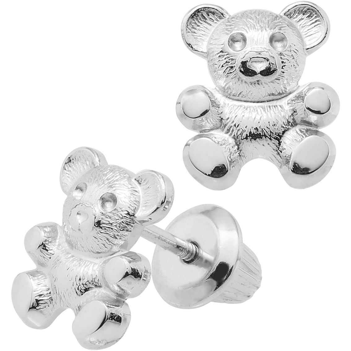 Kids Sterling Silver Teddy Bear Earrings Children S