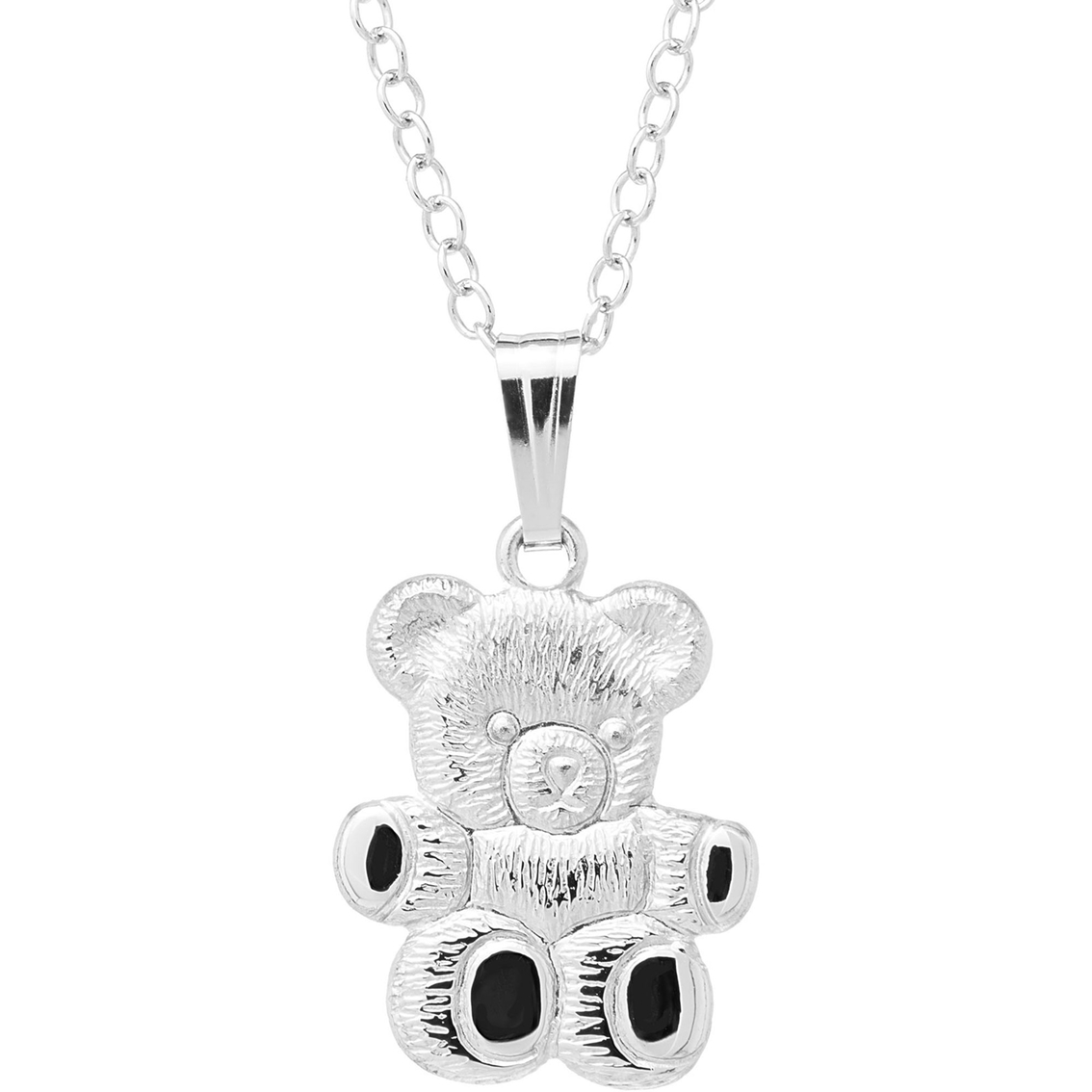 Kids sterling silver teddy bear pendant childrens necklaces 3015 aloadofball Images