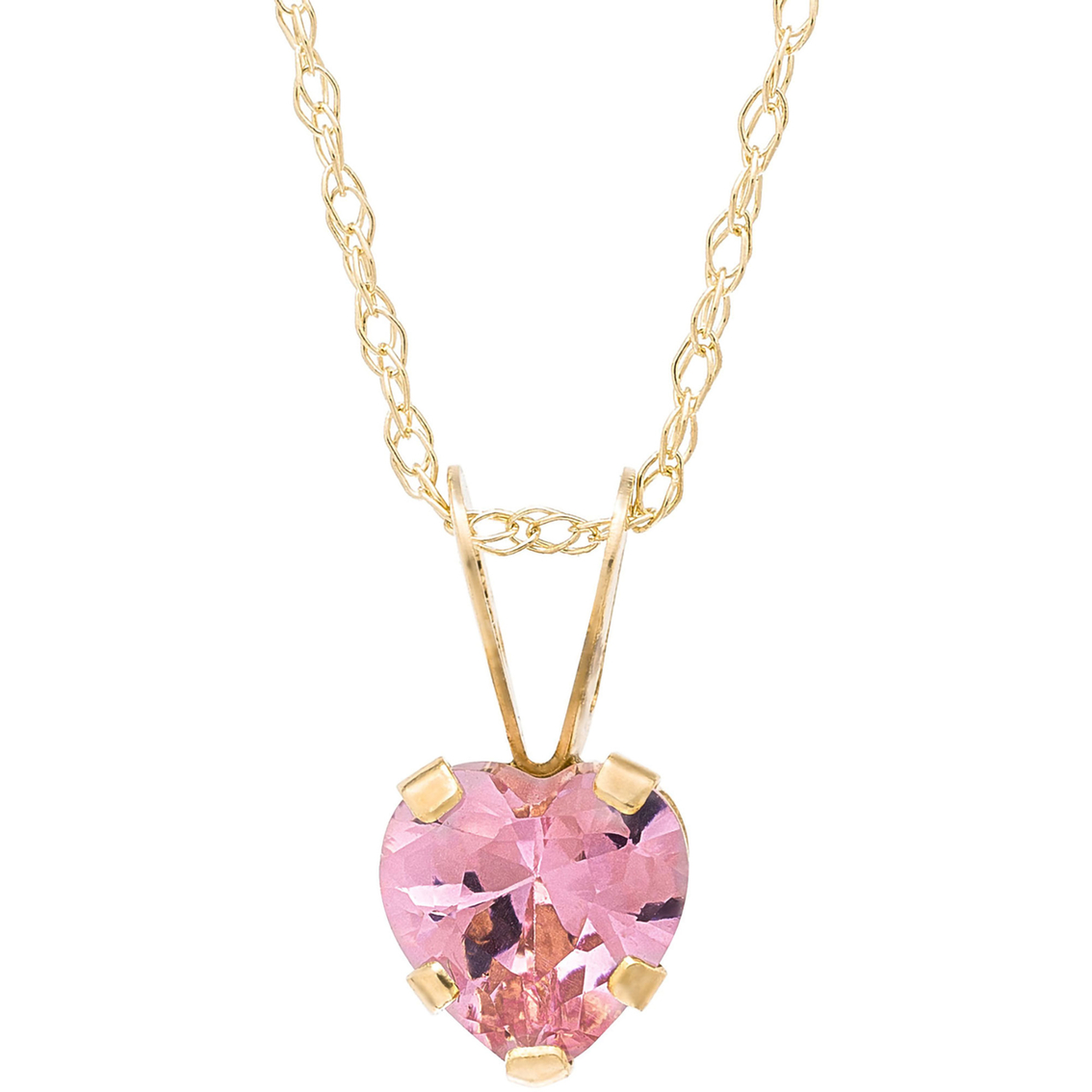 Kids 14k Yellow Gold Pink Cubic Zirconia Heart Pendant