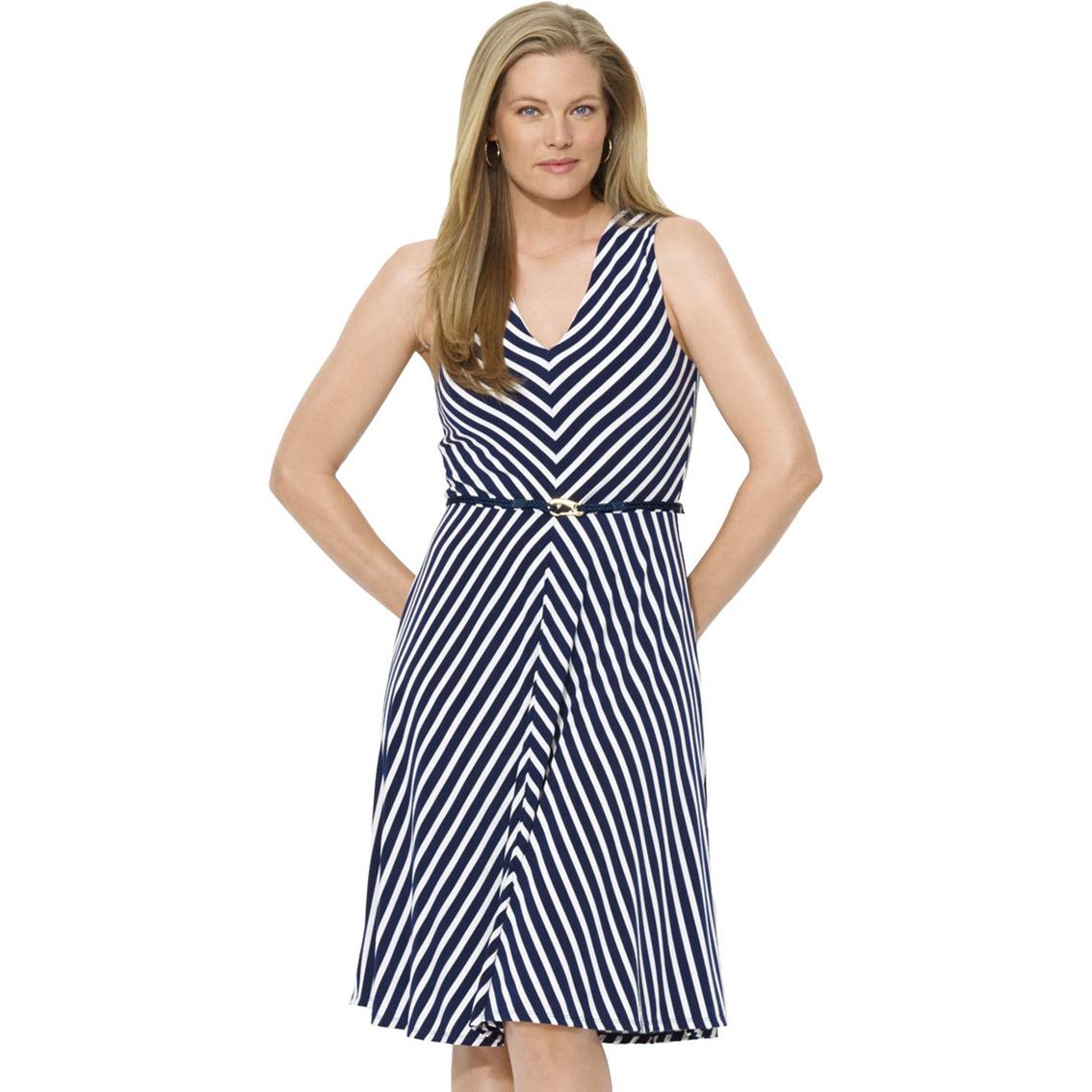 Lauren Ralph Lauren Plus Size Striped Jersey V Neck Dress Lauren