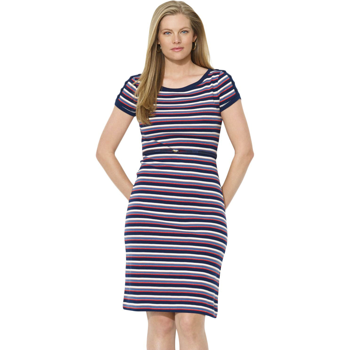 Lauren Ralph Lauren Plus Size Striped Button Shoulder Dress ...