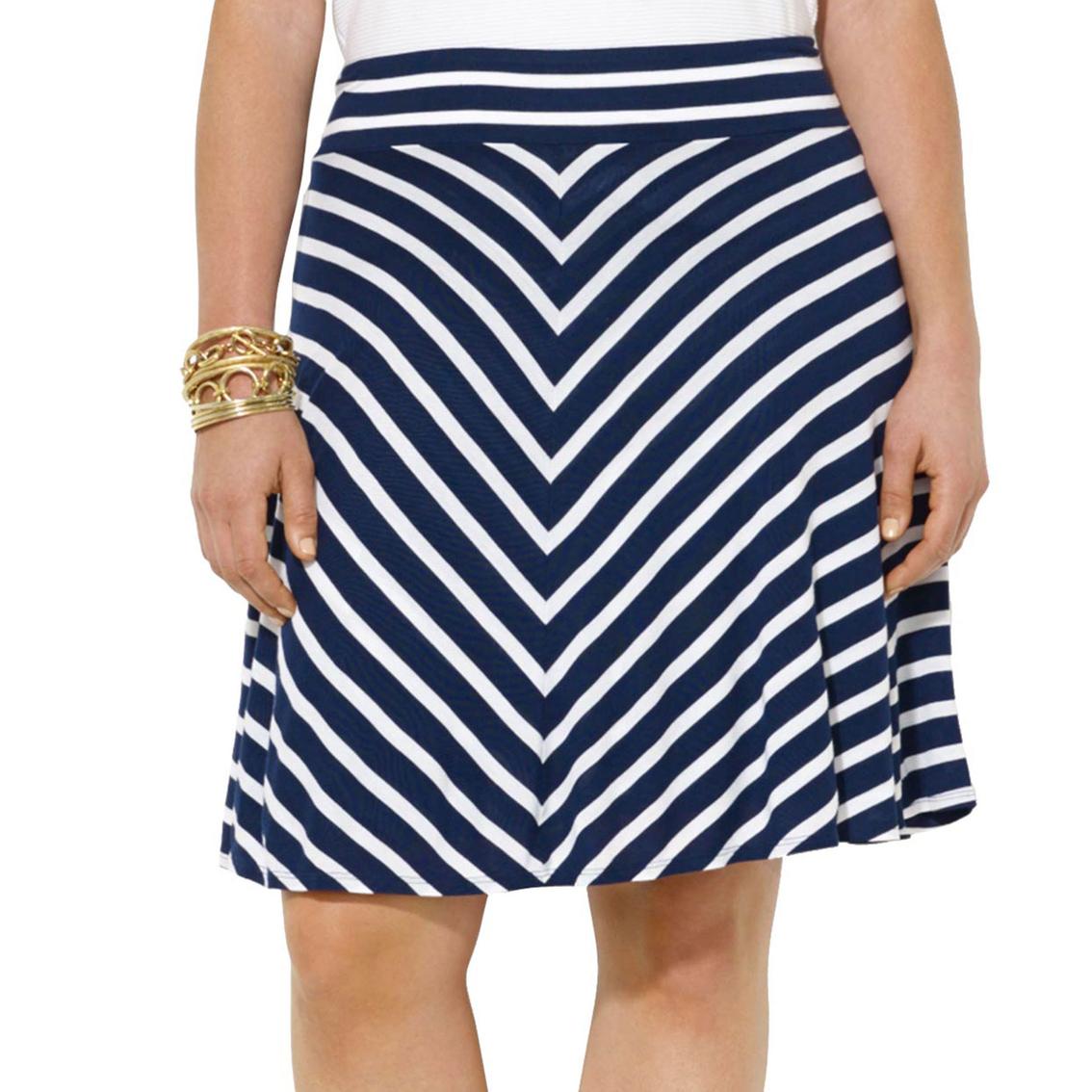 7f1b818f49e04 Lauren Ralph Lauren Plus Size Striped Jersey Skirt