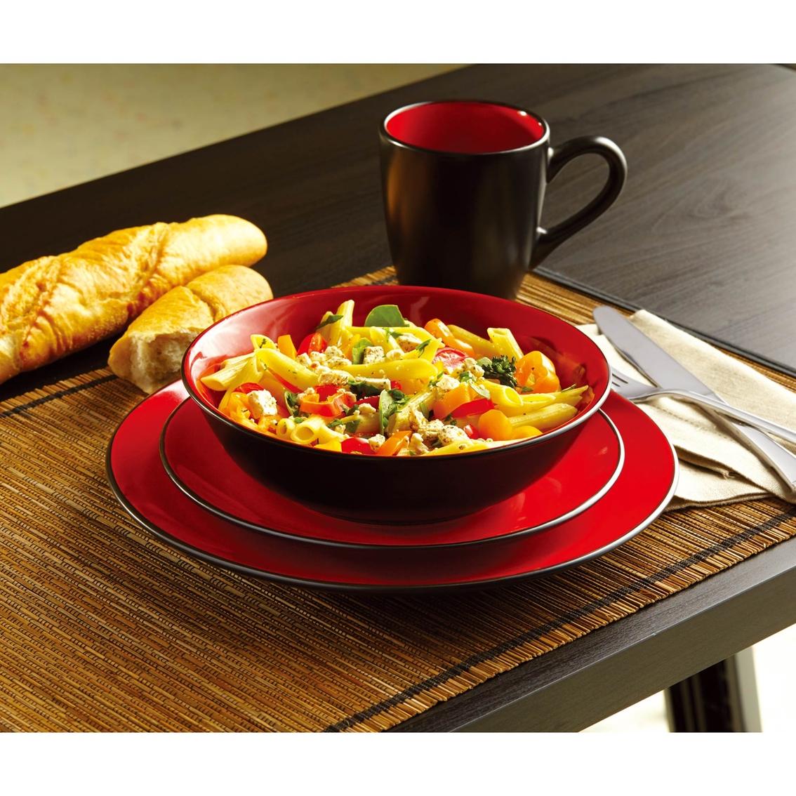 Simply Perfect Two Tone Redblack 16 Pc Dinnerware Set Dinnerware