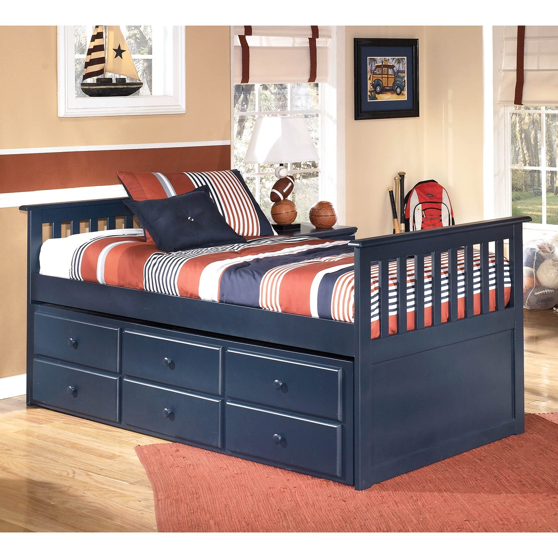 signature design by ashley leo twin trundle bed with drawer box