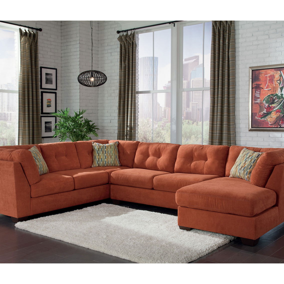 Benchcraft delta city 3 pc sectional sofa with raf chaise for Ashley microfiber sectional with chaise