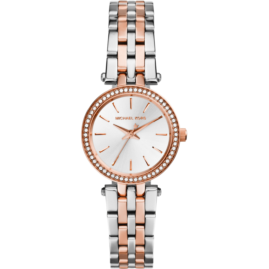 b6f72edc631ff Michael Kors Women s Petite Darci Silver and Rose Goldtone Watch 26mm MK3298