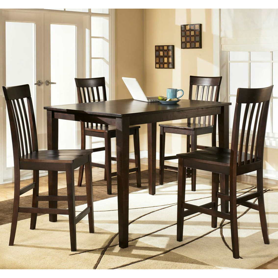 All American Mattress And Furniture Nc: Ashley Hyland 5 Pc. Counter Height Dining Set