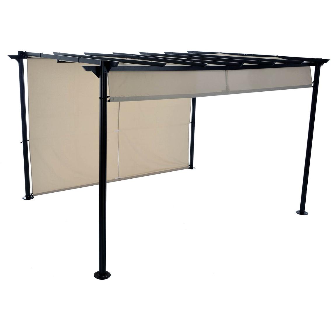 Steel pergola with retractable canopy
