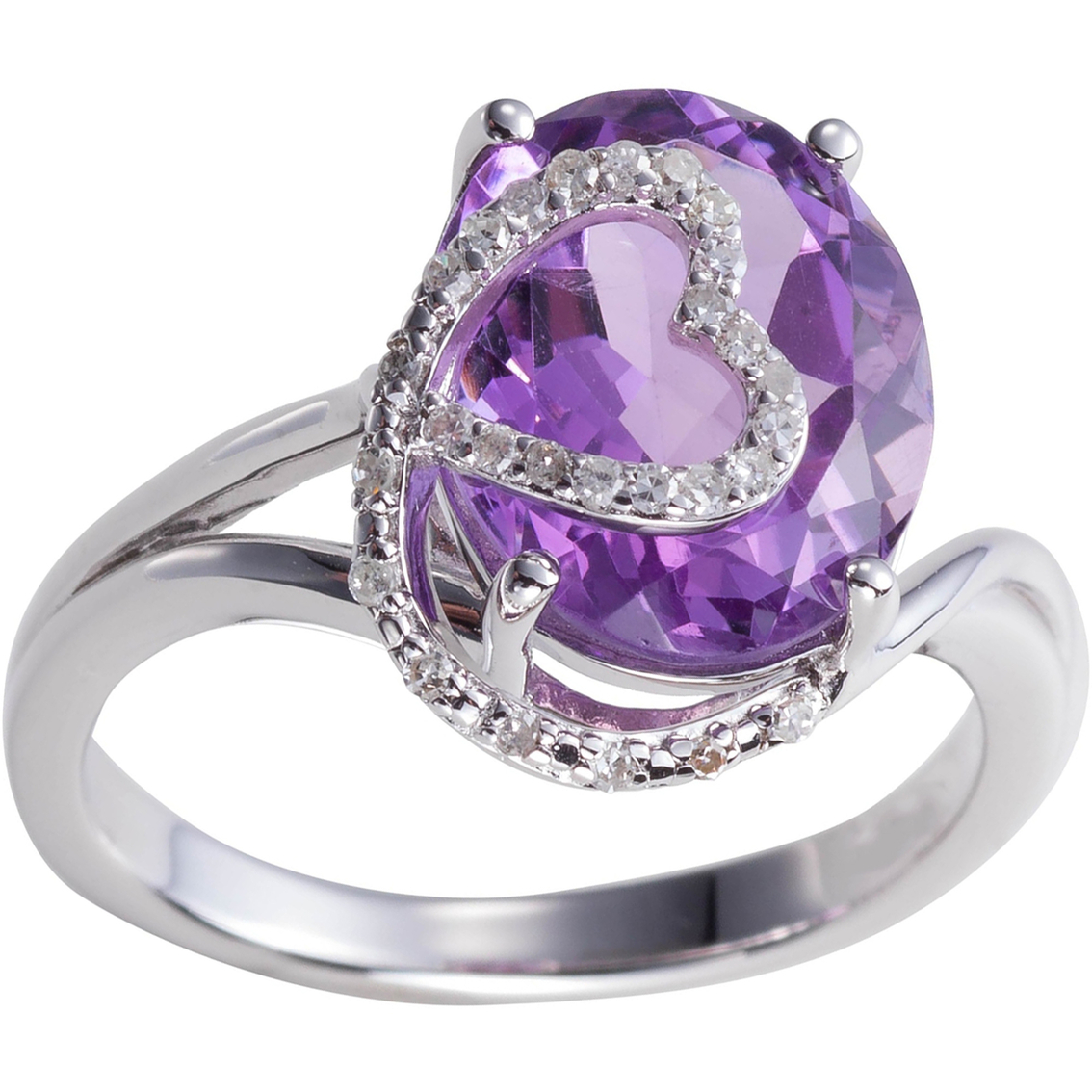 3bd1a79ad984b Sterling Silver Diamond Accent Amethyst Ring | Gemstone Rings ...
