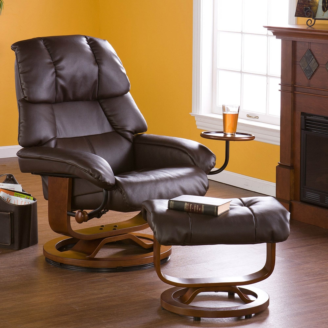 Phenomenal Sei Bonded Leather Swivel Recliner And Ottoman Ottomans Ibusinesslaw Wood Chair Design Ideas Ibusinesslaworg