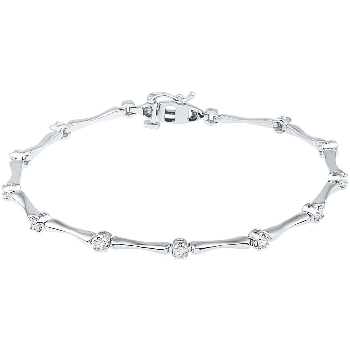 10k White Gold 1 2 Ctw Diamond Bone Bracelet Diamond Bracelets