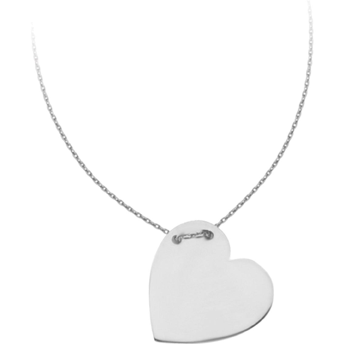 14k white gold heart name plate necklace gold necklaces. Black Bedroom Furniture Sets. Home Design Ideas