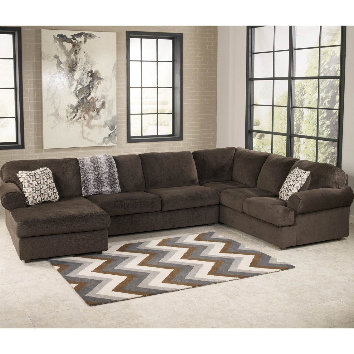 Signature design by ashley jessa place 3 pc sectional for Sectional sofas room place