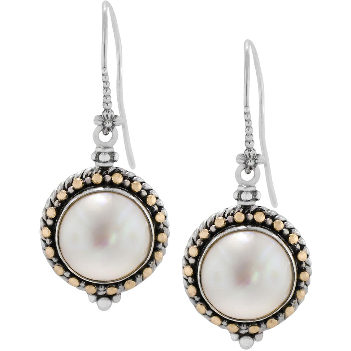 2f41f27d78067 Robert Manse Designs Bali Sterling Silver 18K Gold Mabe Pearl Drop Earrings