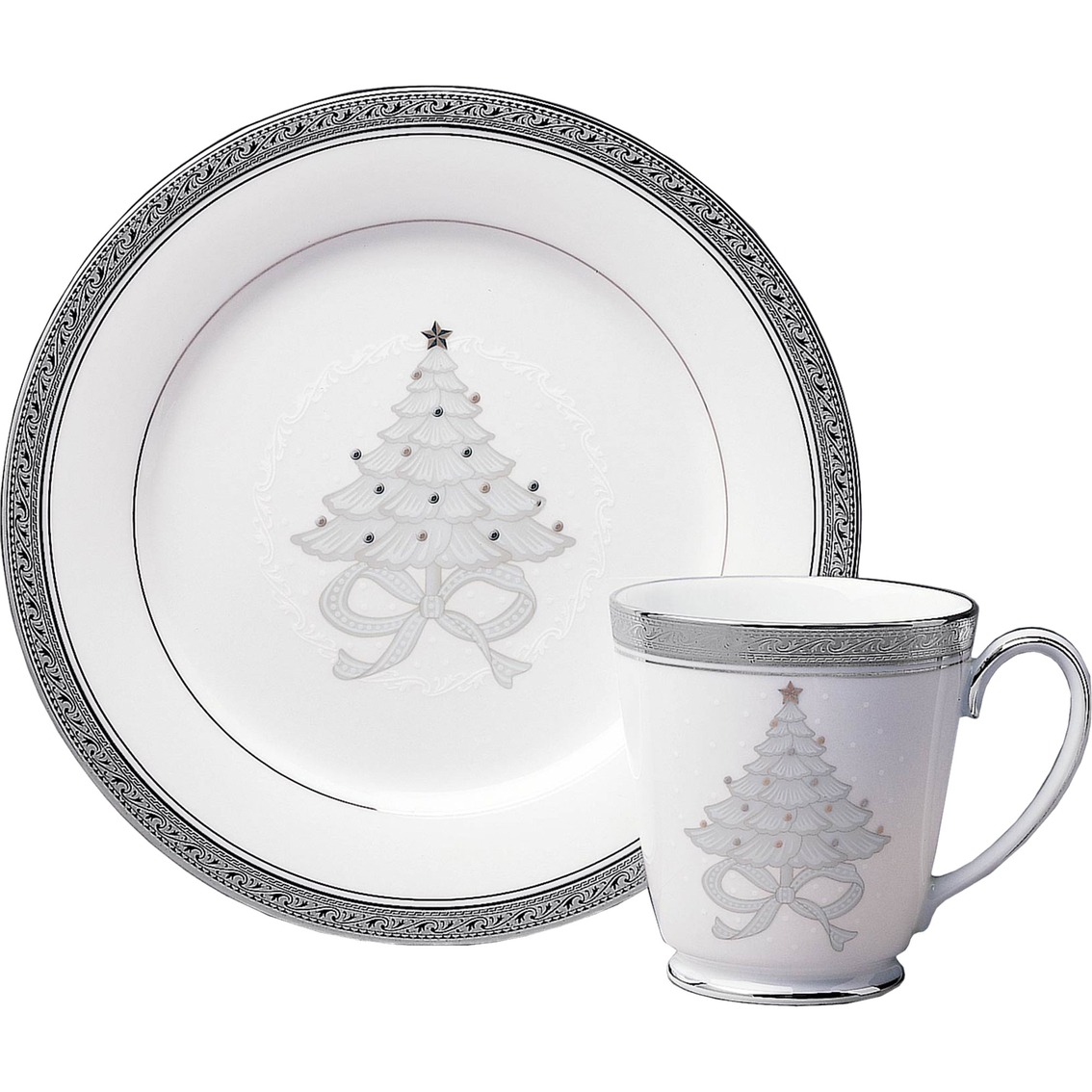 Noritake Crestwood Platinum 4 Pc. Holiday Accent Plate Set | Place ...