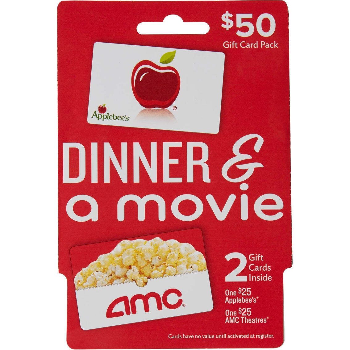 applebees amc theaters dinner a movie gift card pack
