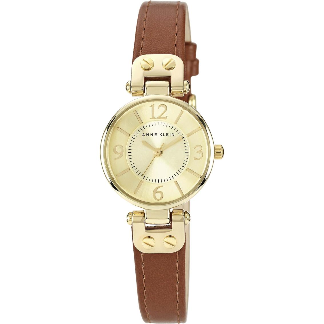 Anne klein women 39 s leather strap watch 26mm 10 9442rglp leather band jewelry watches for Anne klein leather strap