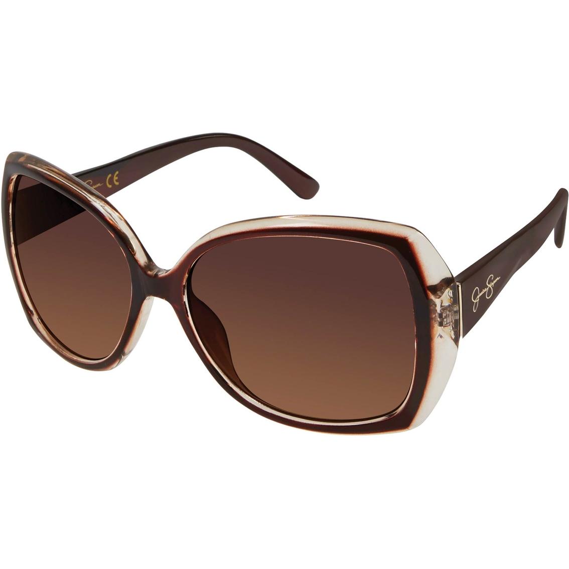 5b4014106b7 Jessica Simpson Oversize Cut Crystal Plastic Sunglasses