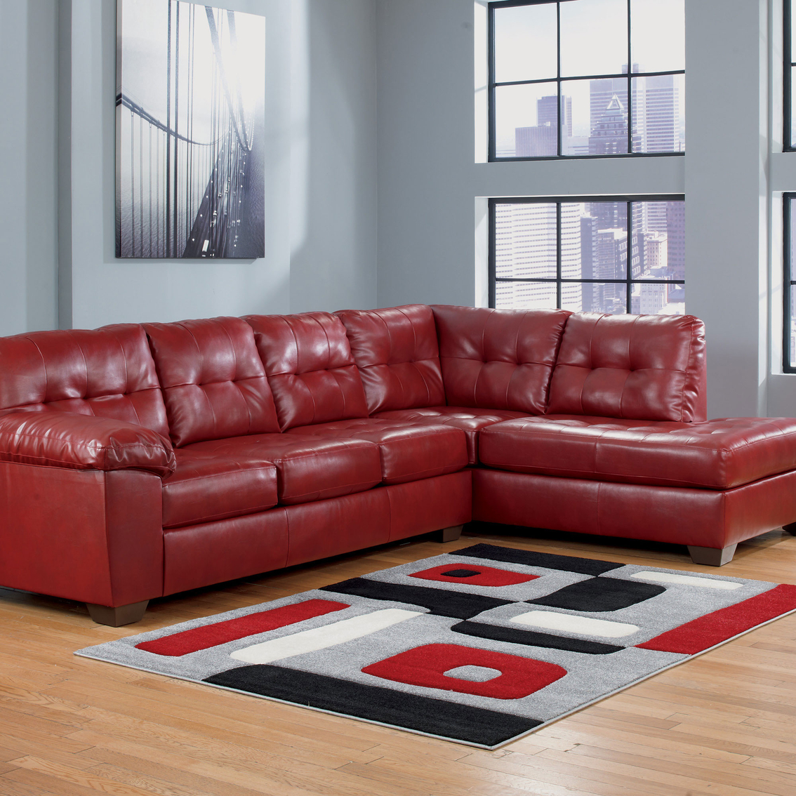 Signature Design By Ashley Alliston Durablend 2 Pc Sectional Raf Chaise Laf Sofa Sofas