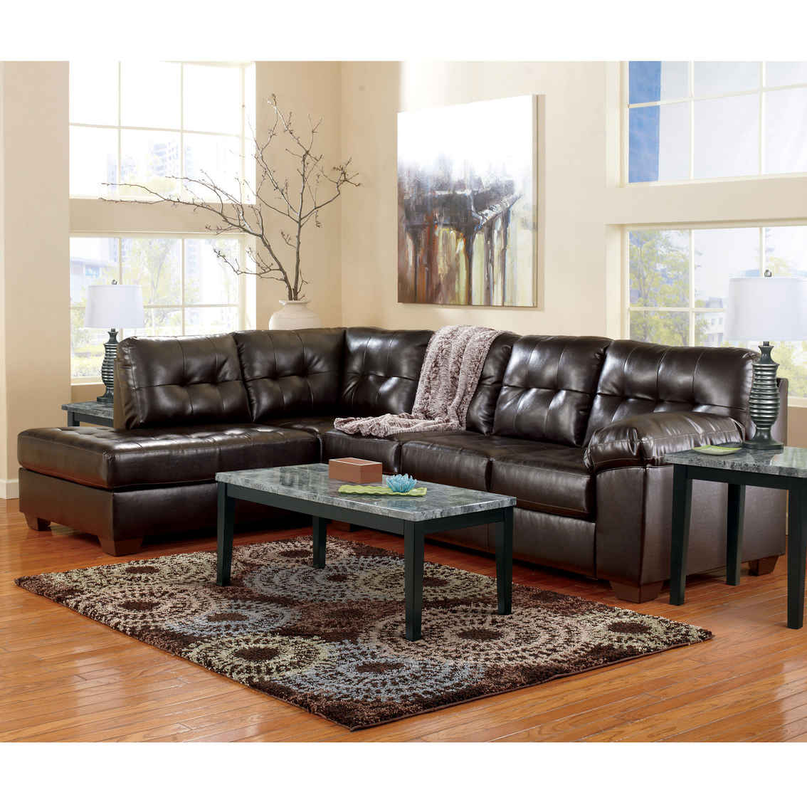 Signature design by ashley alliston durablend 2 pc for Ashley chaise sectional