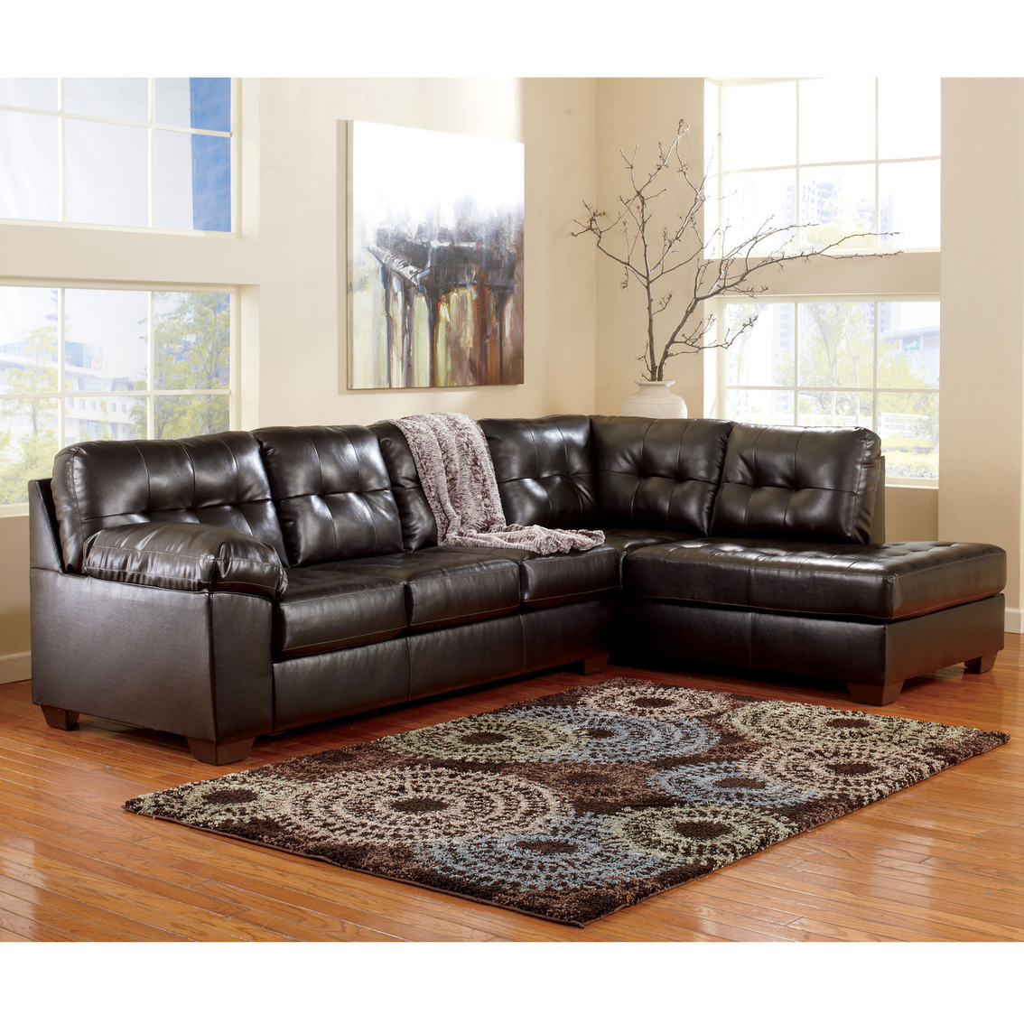 Signature design by ashley alliston durablend 2 pc for Ashley furniture sofa with chaise