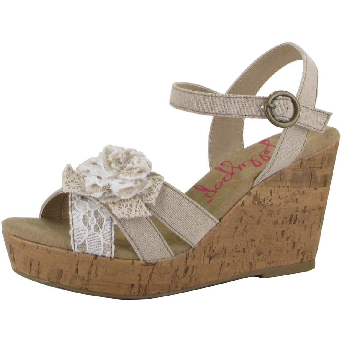 jellypop cheerful side bow quarter wedge sandals