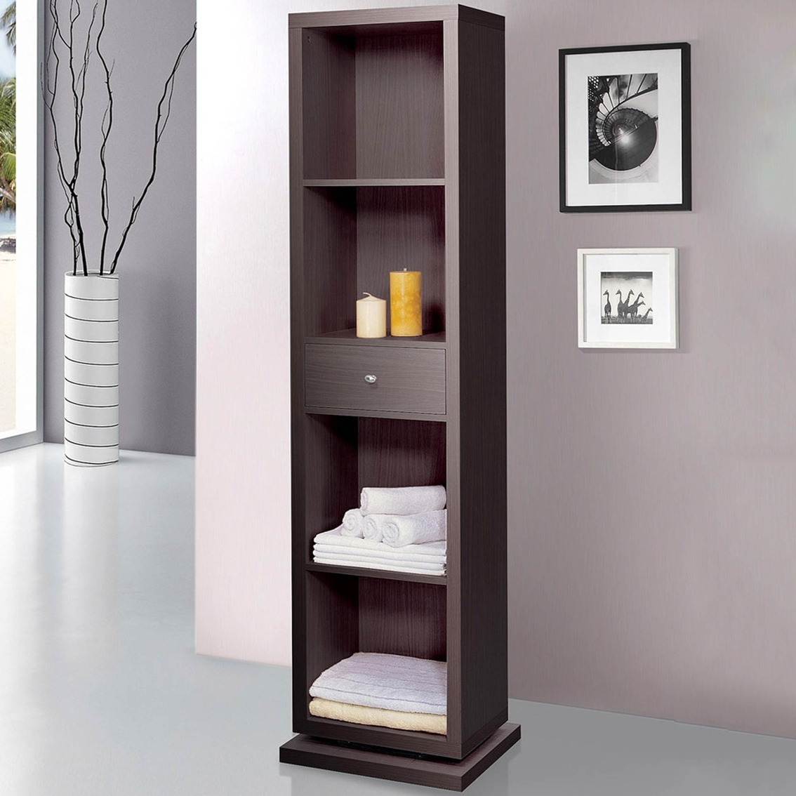 Artiva Bella Home Deluxe Cabinet Shelving Unit With Swivel To Full Length Mirror Bookcases