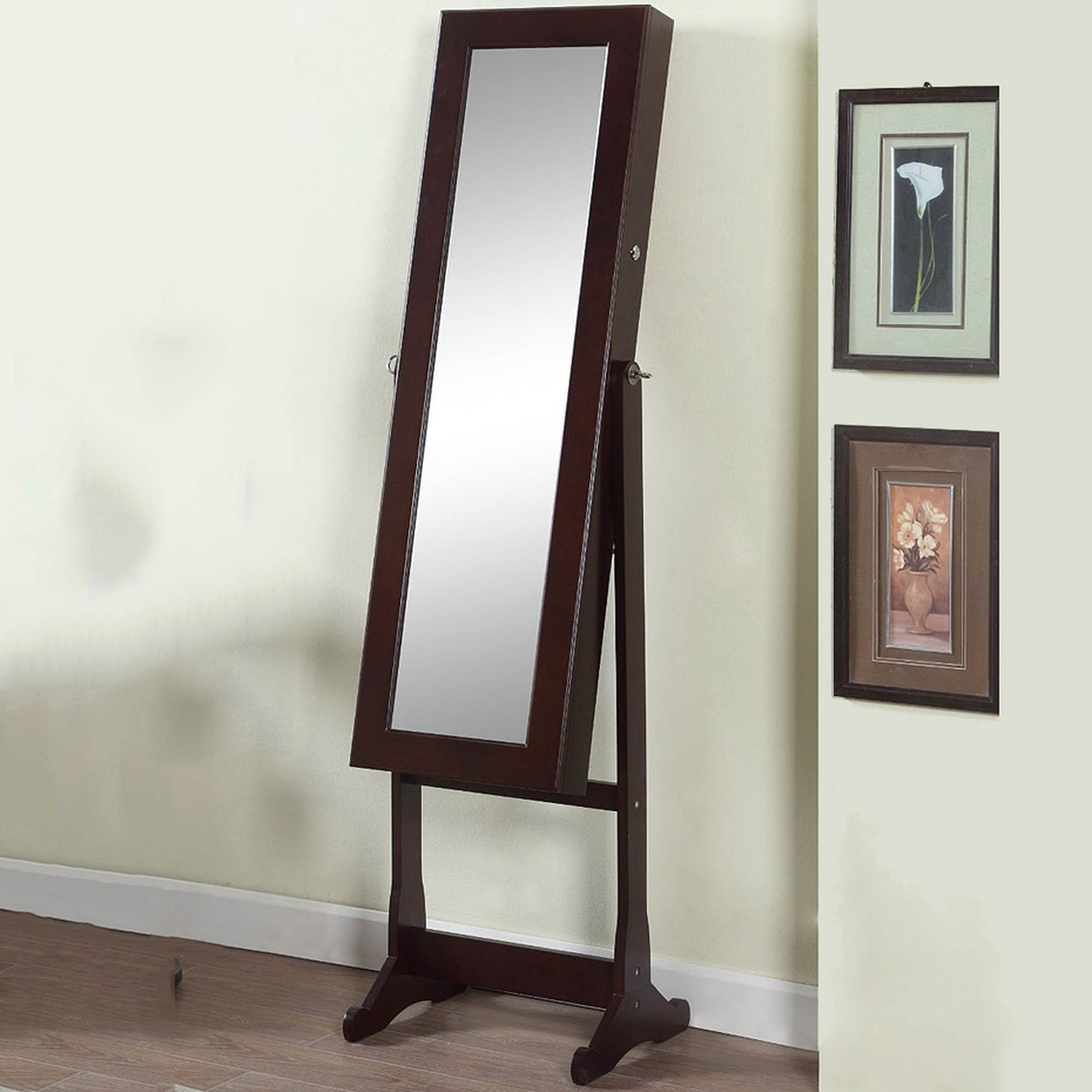 Artiva Deluxe Floor Standing Mirror And Jewelry Cabinet With Led