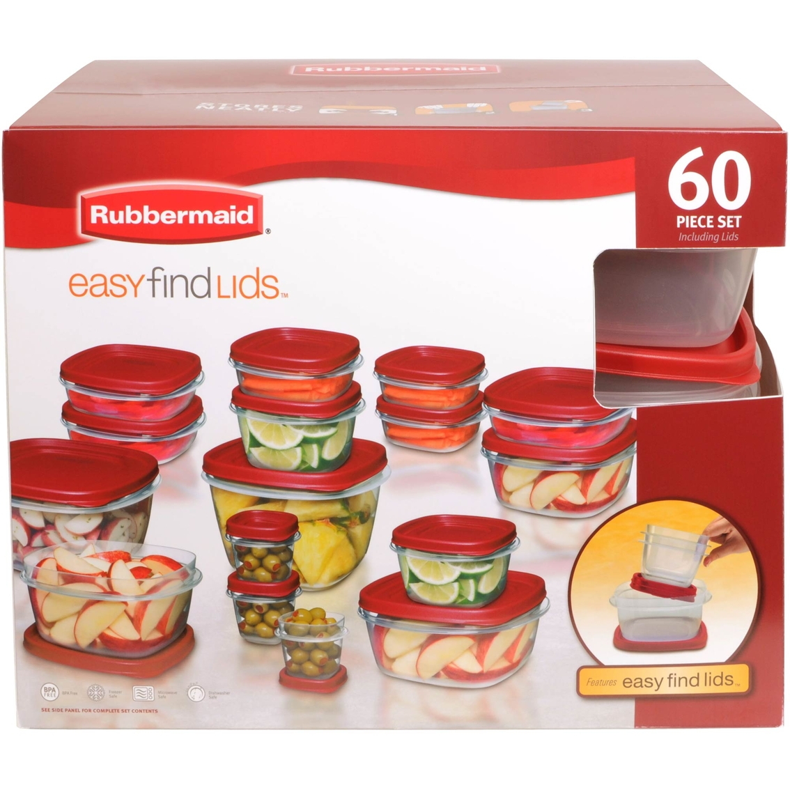 Rubbermaid Easy Find Lid Food Storage Container Set 60 Ct.