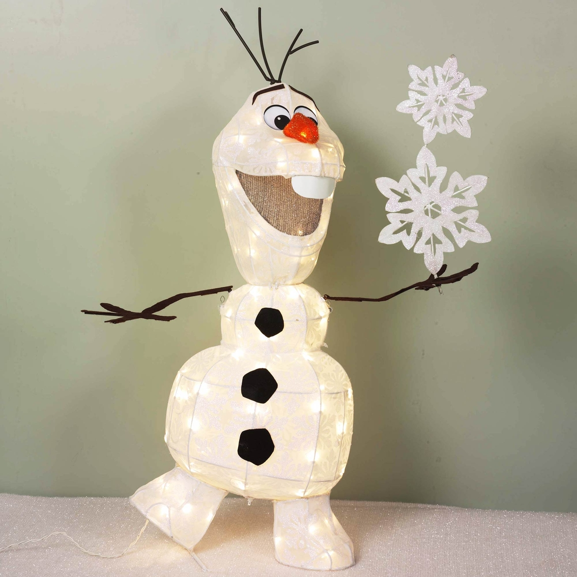 disney frozen iridescent olaf and snowflake sculpture